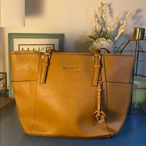 Michael Kors Small Saffiano Zip Top Shoulder Bag
